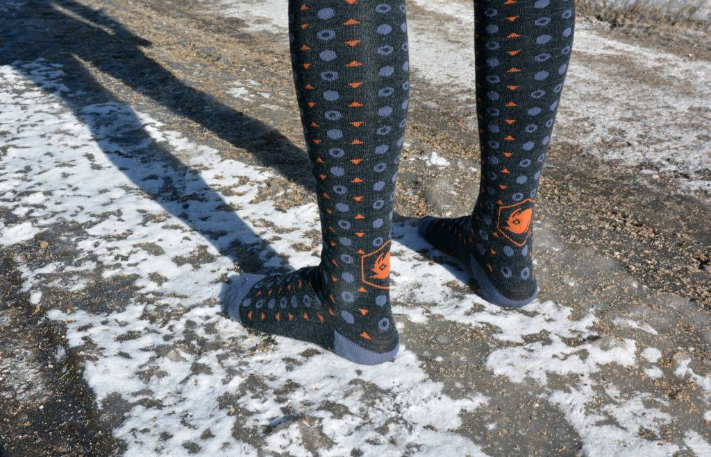 Angry Catfish Tall Wool Sock: Charcoal/Orange/Gray