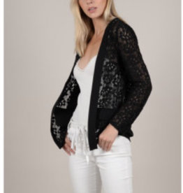 Molly Bracken MB 1929 Black Woven Lace Jacket