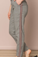 Hem and Thread HT Plaid Pant with Red Tuxedo Stripe