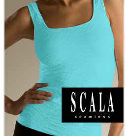 Scala Crinkle Tank Top Aquamarine Color