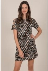 Molly Bracken MB Black Floral Dress with ladder sleeve