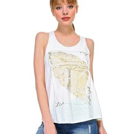 358f51676ea6 Royal Hand Gold Feather Print Tank Top