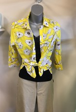 Kut Yellow Floral Button Down Blouse