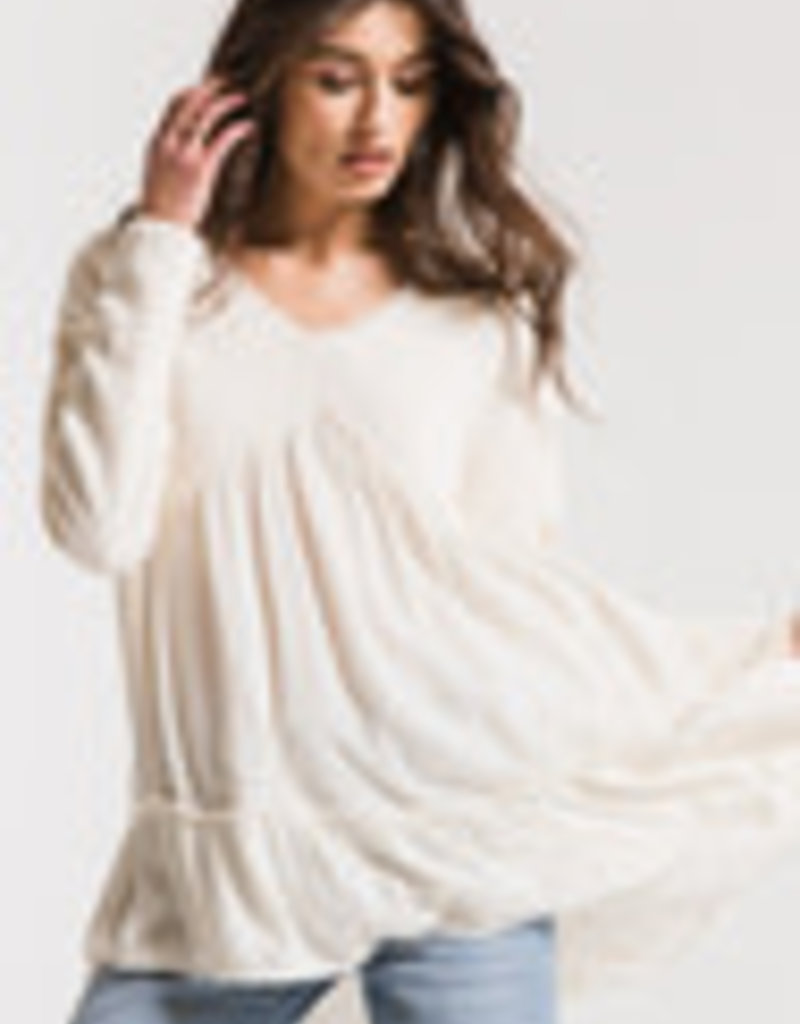 White Crow Flowy Sweatershirt Top Cream