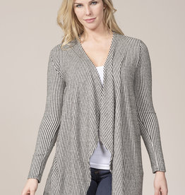 Rain & Rose Super soft striped cardi with tan elbow patches