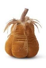 K & K Velvet Stuffed Gourd w/resin stem & feathers 8.25 inches