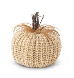 """K & K Cream Crochet Pumpkin w/wood stem & feathers 7.5"""""""