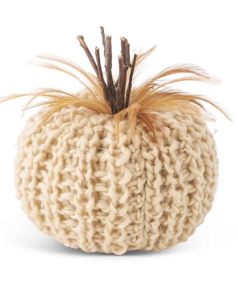"""K & K Cream or Orange Crochet Pumpkin w/wood stem & feathers 5"""""""