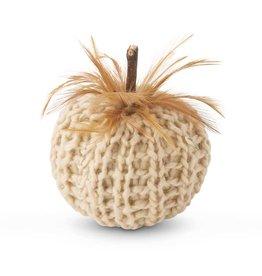 """K & K Cream or Orange Crochet Pumpkin w/wood stem & feathers 4"""""""