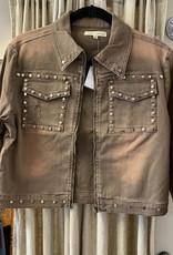 AP Denim Crop Jacket with Rivets APD
