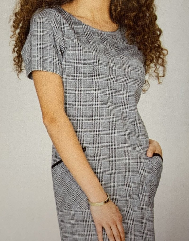 down east basic Grey Plaid Dress with Black trim on pockets