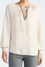 TGB Brands Beaded Tie Cream Blouse