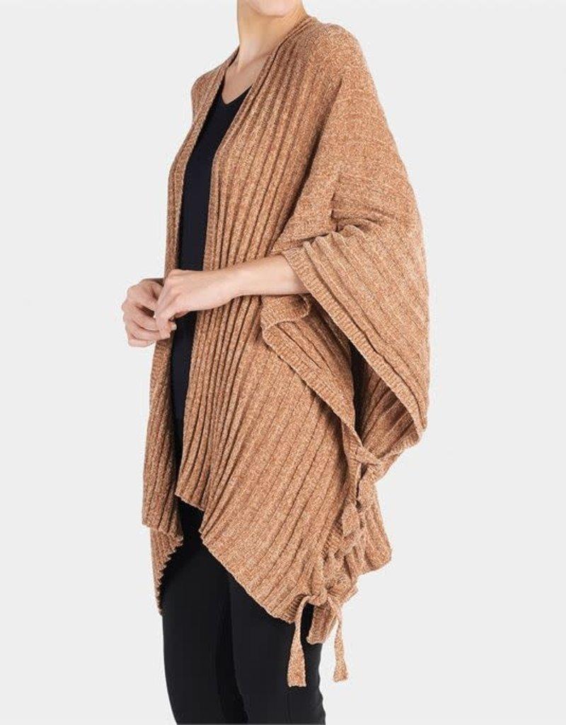 TGB Brands Cozy Chenille Side Tie Cardigan in Camel