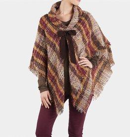 TGB Brands Plaid Tie Front Wrap Brown & Camel