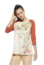AP Denim Blossom Tee Floral with Pumpkin Colored Sleeves