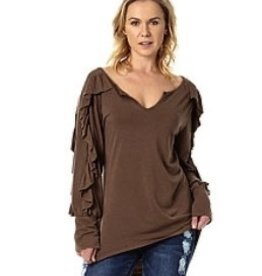AP Denim Ruffle Sleeve Top in Brown