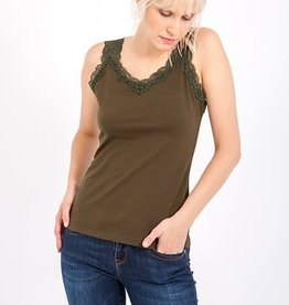 Smash Tank Top with lace in Army Green