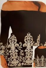 Liberty Wear Black Tunic with white ornate scrolls