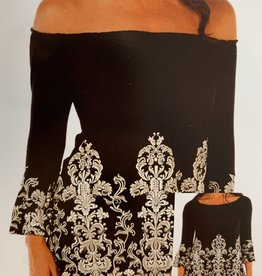 Liberty Wear Black Tunic with white ornate scrolls