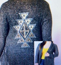 Liberty Wear Aztec Studded Design on Back of Grey Cartigan