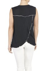 Coco + Carmen Crinkle Knit Ruffle Top Black with white trim