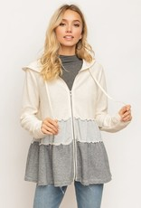 Hem and Thread Layered Ruffle Contrast Hoodie Zip up