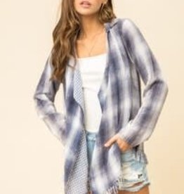 Hem and Thread Frayed Edge Hem Plaid Open Cardi in Denim