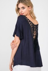 papercrane Back Lace Short Ruffle Sleeve Top in Navy