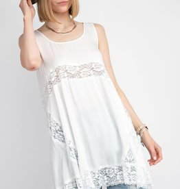 Easel RAYON CHALLIE TUNIC -FLOWY SILHOUETTE -SHEER LACE TRIM