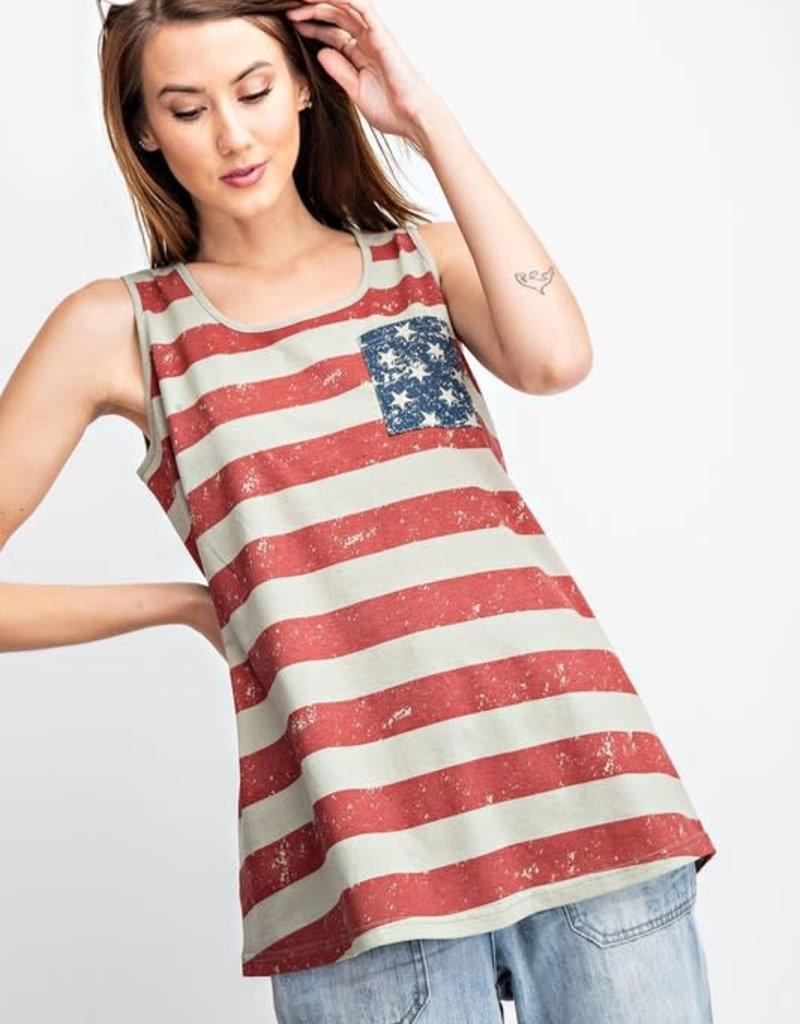 Easel AMERICAN FLAG PRINTED TANK TUNIC -LIGHT WEIGHT -RELAXED -FADED DETAIL