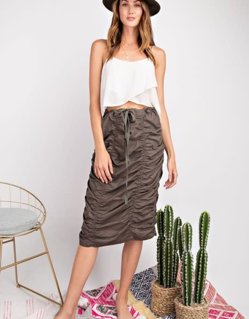 Easel RUCHED SKIRT DESIGN FEATURED DRAWSTRING, COTTON VOILE PENCIL SKIRT