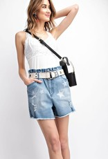 Easel STAR PRINTED SELF DISTRESSED WASHED DENIM SHORTS -HIGH RISE -ELASTIC WAISTBAND -BUTTON FRONT -RAW HEM