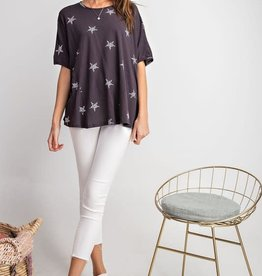 Easel SHORT SLVS STAR PRINTED COTTON KNIT SWING TOP