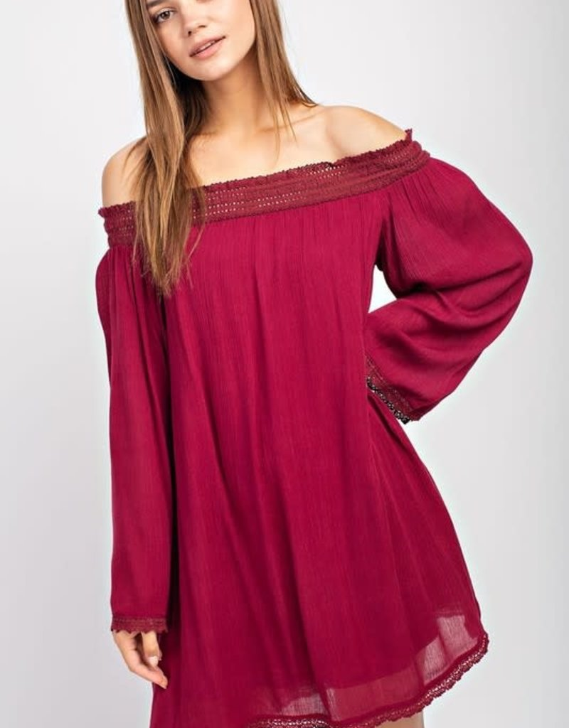 Mottoshop CRINKLE GAUZE LACED OFF SHOULDER DRESS W/ POCKET