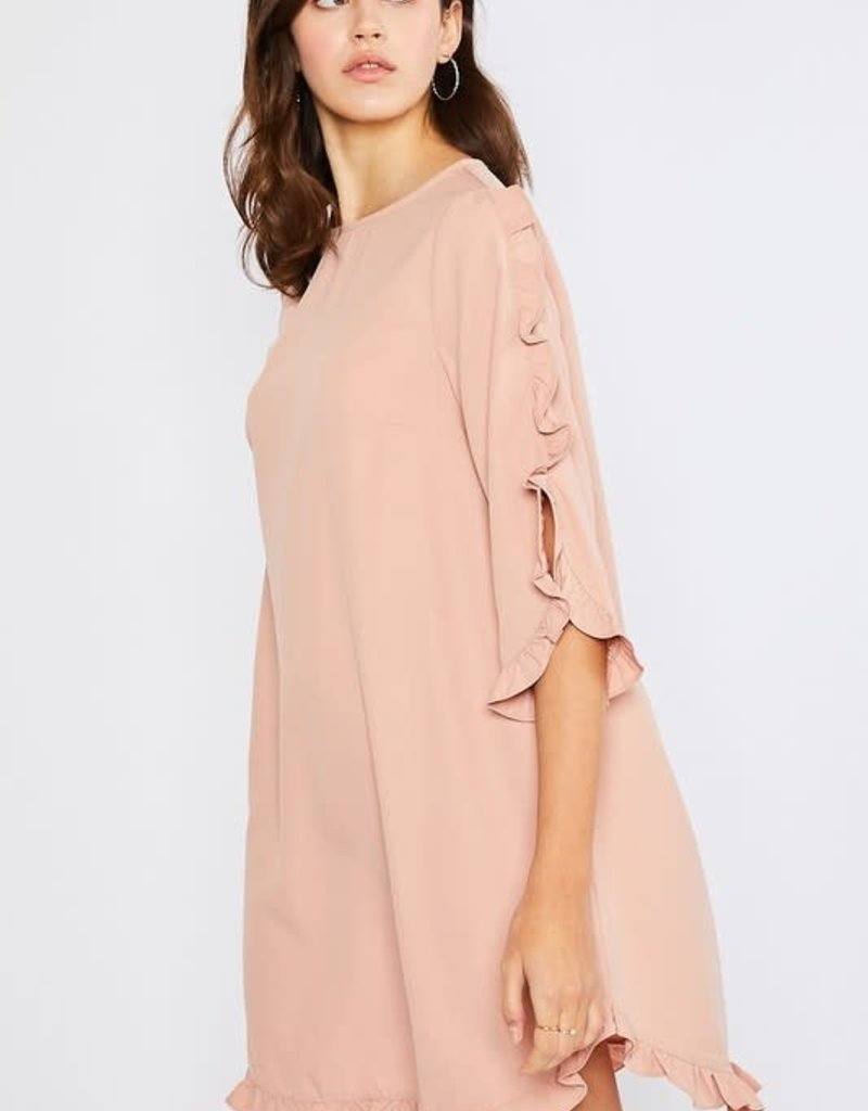 Mottoshop RUFFLE DETAIL SHIFT WOVEN DRESS
