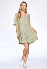 aaaaa Fashion RUFFLE DETAIL WOVEN DRESS Sage Green