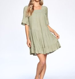 aaaaa Fashion RUFFLE DETAIL WOVEN DRESS Sage Green