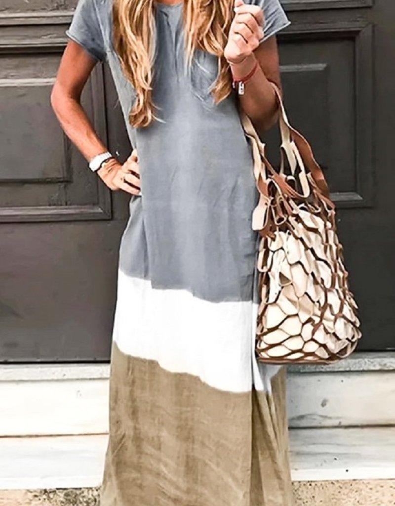 mazik Short sleeve round neck tie-dyed tiered maxi dress