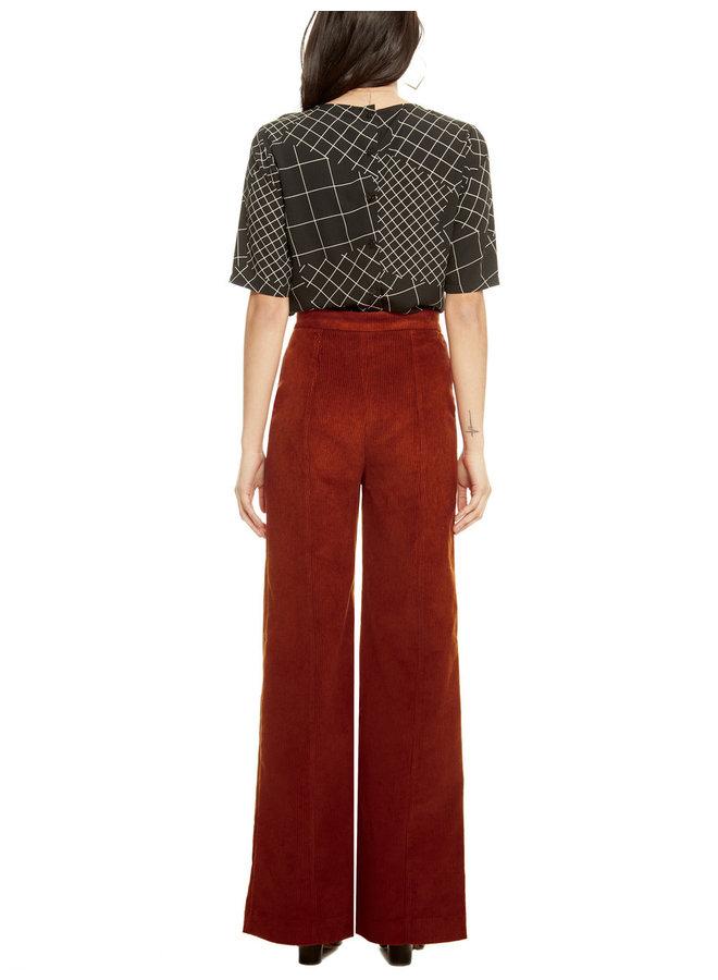 Pantalon velours cotelé - brique