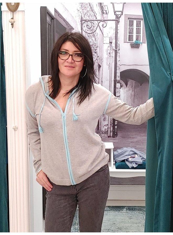 Veste coton/cachemire - gris et turquoise