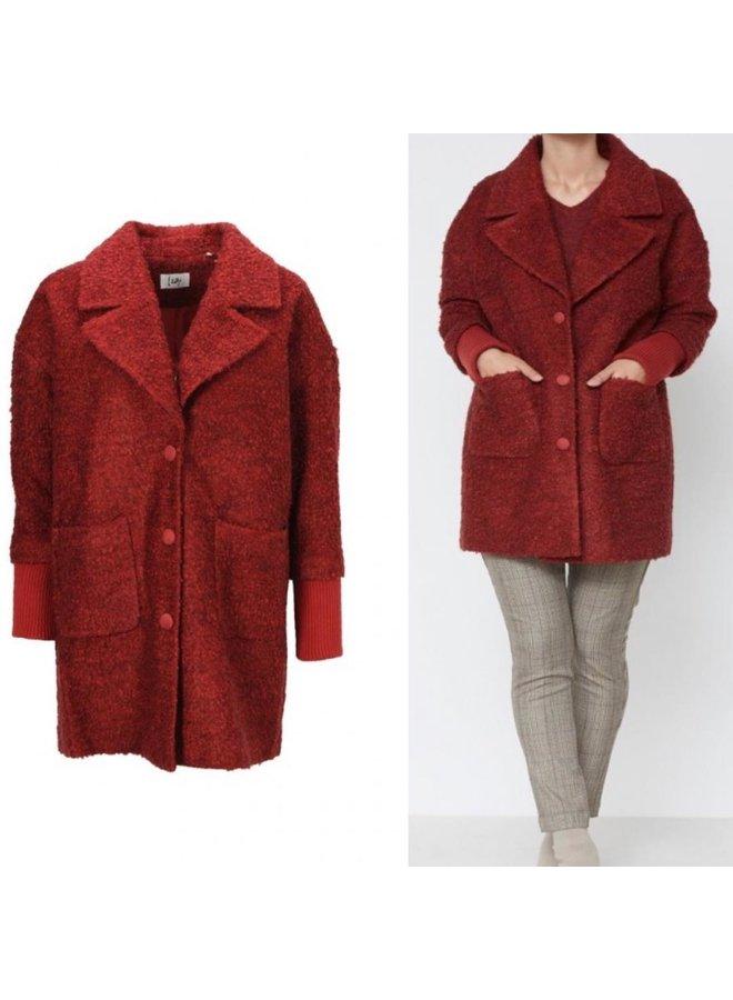 Manteau de laine bouillie - rouille