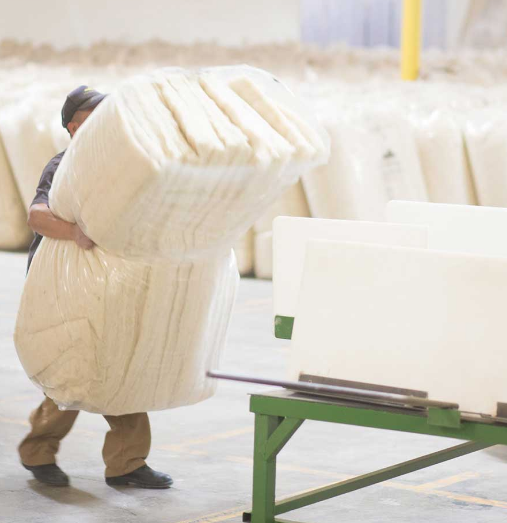 A difference you can feel: Havelock manufacturers carrying bundles of the sheep wool insulation