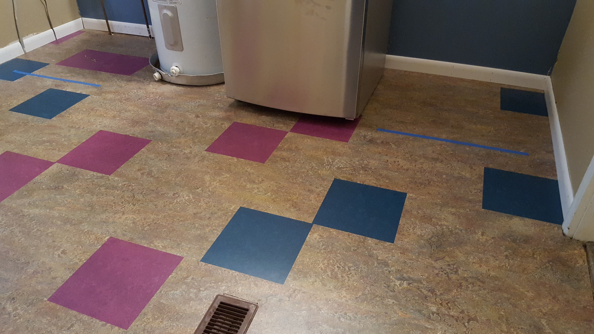 AFTER: Alec's fun, new laundry room floor