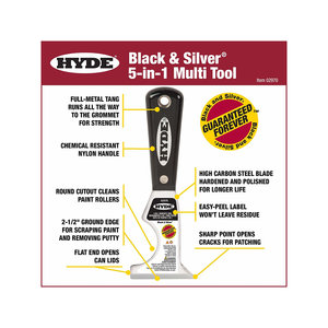 """Hyde 2-1/2"""" Black & Silver 5-in-1 Painter Tool"""