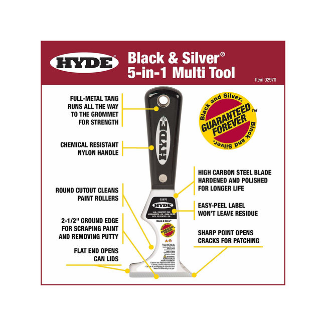 """2-1/2"""" Black & Silver 5-in-1 Painter Tool"""
