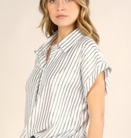 Lovestitch 13127W Metallic Stripe Button Down