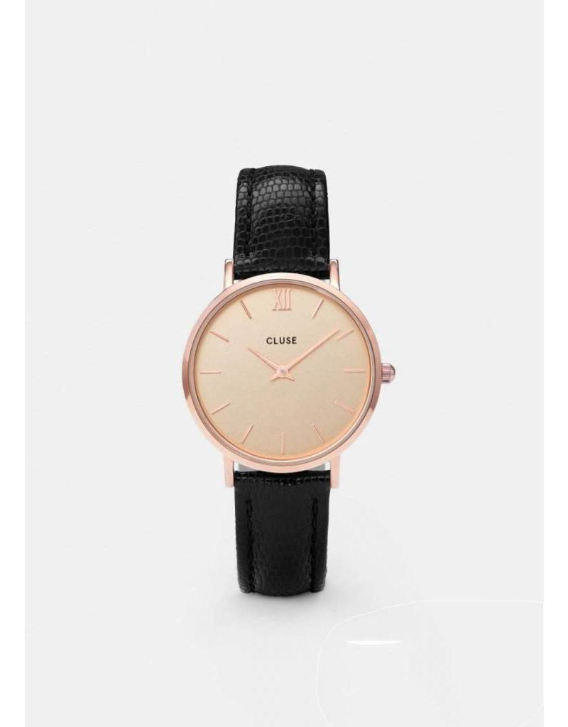 CLUSE Minuit rose gold/champagne/black lizard