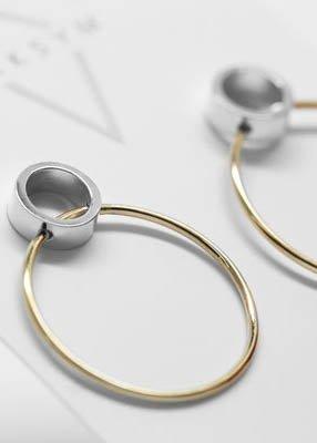 MAKSYM Boucles d'oreilles anneaux 2 tons