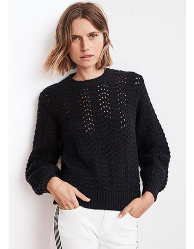 Cersei lace stitch puff sleeve sweater