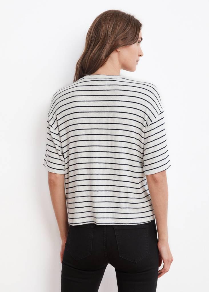 VELVET Dagney rib stripe top